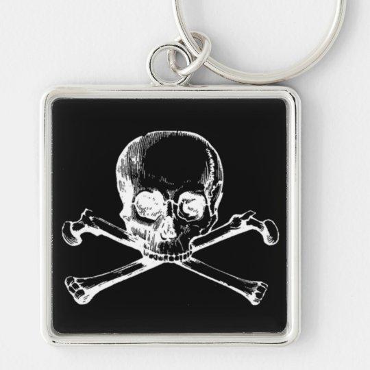 Customizable Vintage Skull & Crossbones Keychain