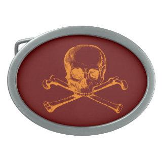 Customizable Vintage Skull & Crossbones Oval Belt Buckle