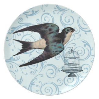 Customizable Vintage Sparrow Swirl Party Plates