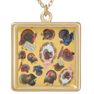 Customizable Vintage Thanksgiving Turkeys Gold Plated Necklace
