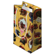 Customizable Vintage Thanksgiving Turkeys Small Gift Bag