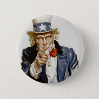 Customizable Vintage Uncle  Sam Pinback Button