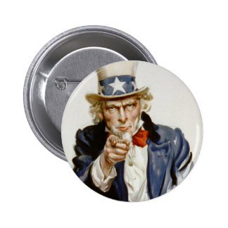 Customizable Vintage Uncle  Sam Pinback Button