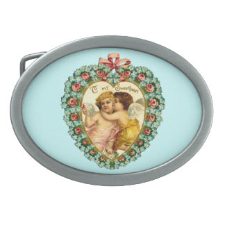 Customizable Vintage Valentine Heart Oval Belt Buckle