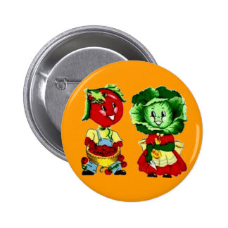 Customizable Vintage Vegetable Couple 2 Inch Round Button