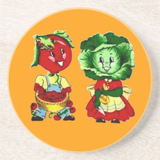Customizable Vintage Vegetable Couple Drink Coaster