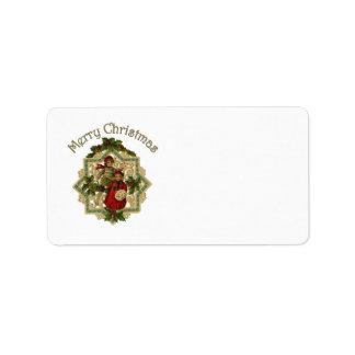 Customizable Vintage Victorian Christmas Children Label