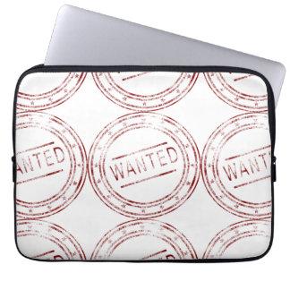 Customizable vintage wanted Stamp Pattern Design Laptop Sleeve