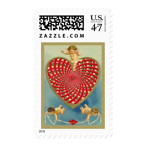 Customizable Vintage Woven Heart and Cherubs Stamp
