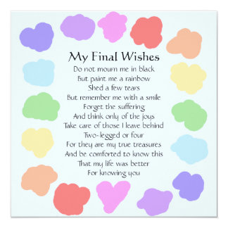 Customizable Wake / Memorial -- Rainbow Poem Card
