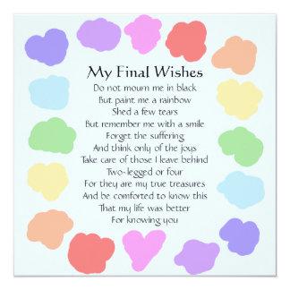 Customizable Wake / Memorial -- Rainbow Poem 5.25x5.25 Square Paper Invitation Card