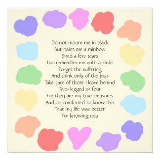 Customizable Wake / Memorial -- Rainbow Poem Personalized Invites