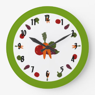 Customizable Wall Clock with Colorful Vegetables