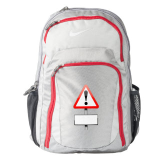 Customizable warning sign. nike backpack