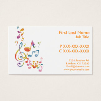 Customizable watercolor music notes business cards