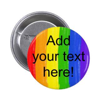 Customizable Watercolor Rainbow Pinback Button