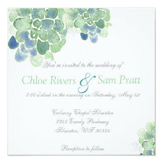 Customizable Watercolor Succulents Teal Invitation