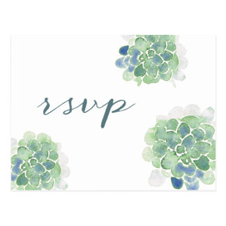 Customizable Watercolor Succulents Teal RSVP Postcard