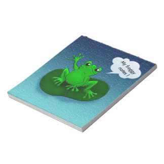 Customizable waving frog floating on a leaf memo pads