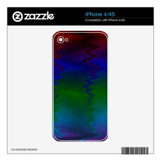 Customizable Wavy Rainbow Modern Colorful Pattern iPhone 4S Decal