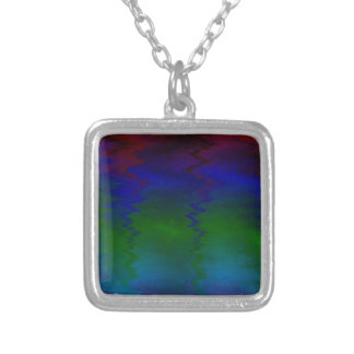 Customizable Wavy Rainbow Modern Colorful Pattern Silver Plated Necklace