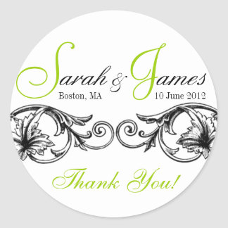 Customizable Wedding Favor or Cake Box Labels Gree