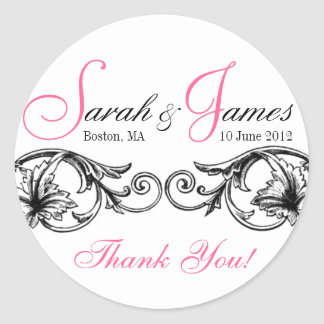 Customizable Wedding Favor or Cake Box Labels Pink Round Stickers