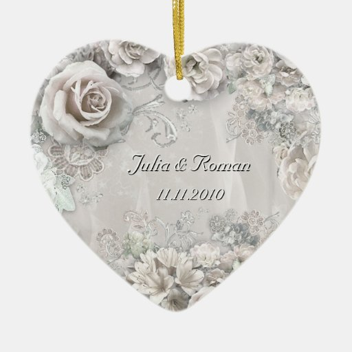 Customizable wedding heart christmas tree ornaments zazzle for Engagement christmas tree ornaments