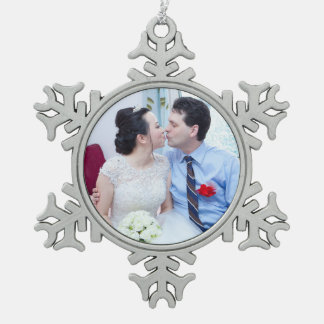 Customizable Wedding Photo Snowflake Pewter Christmas Ornament
