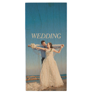 Customizable Wedding Photo Wood USB Flash Drive