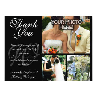 "Customizable Wedding Thank You 3 Photo Flat Card 6.5"" X 8.75"" Invitation Card"
