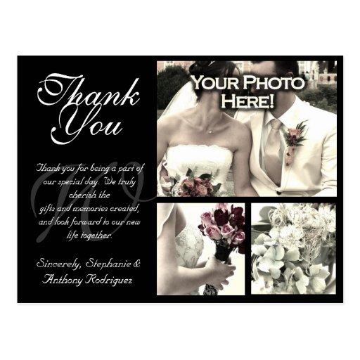 Customizable Wedding Thank You Card 3 Photos B Post Card