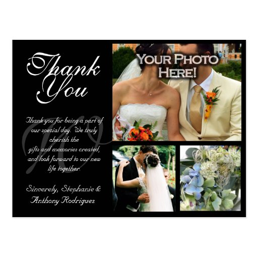 Customizable Wedding Thank You Card 3 Pictures Postcard
