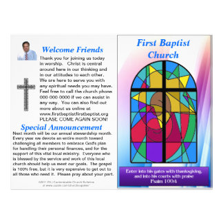 Customizable Weekly Church Bulletin (Inside Blank) Letterhead Design