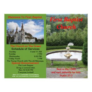 Customizable Weekly Church Bulletin Outside Only Letterhead