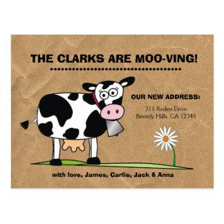 Customizable We're Moo-ving Postcard