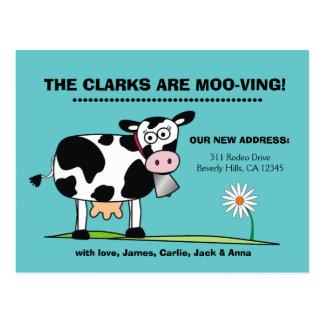 Customizable We're Moo-ving Postcard Robins Egg