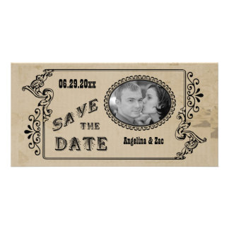 Customizable Western Style Save The Date Photo Car Photo Card
