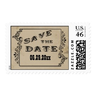 Customizable Western Style Save The Date Postage stamp