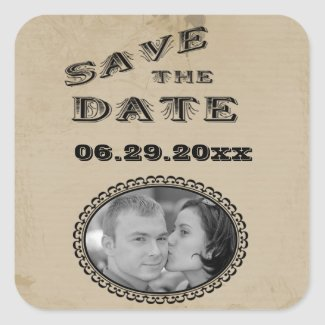 Customizable Western Style Save The Date Sticker sticker