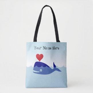 Customizable Whale Ocean Sea Waves Tote Bag