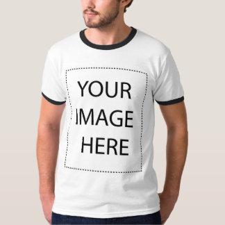 Customizable White Black Mens Ringer T-shirt