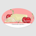 Customizable White Chocolate Cherry Oval Stickers
