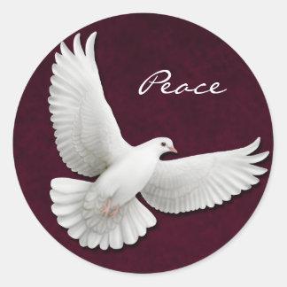 Customizable White Dove on Maroon Sticker