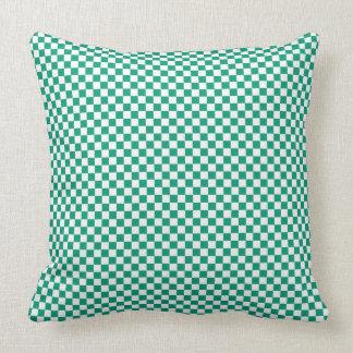 Customizable White/Emerald Green Checkered Throw Pillow