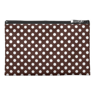 Customizable White on Brown Polka Dots Travel Accessories Bag