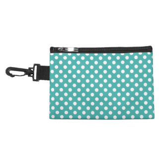 Customizable White on Verdigris Green Polka Dots Accessories Bags