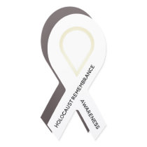 Customizable White Ribbon Awareness Car Magnet