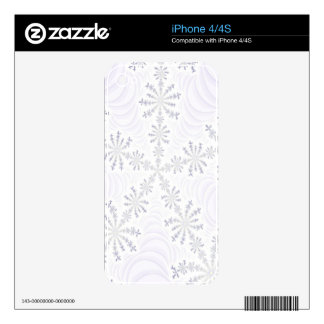 Customizable White Snowflake iPhone 4/4S Fractal Decal For The iPhone 4S