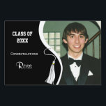 "Customizable White Tassel Graduation Lawn Sign<br><div class=""desc"">Upload your own photo to this contemporary design which features a black background with a white ribbon and matching graduation tassel. The reverse side of this deluxe product features the same design. There is plenty of customizable text on the both sides of this premium lawn sign for you to add...</div>"